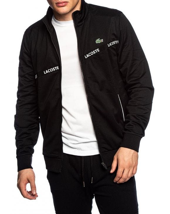 LACOSTE ZIP SWEATSHIRT IN BLACK