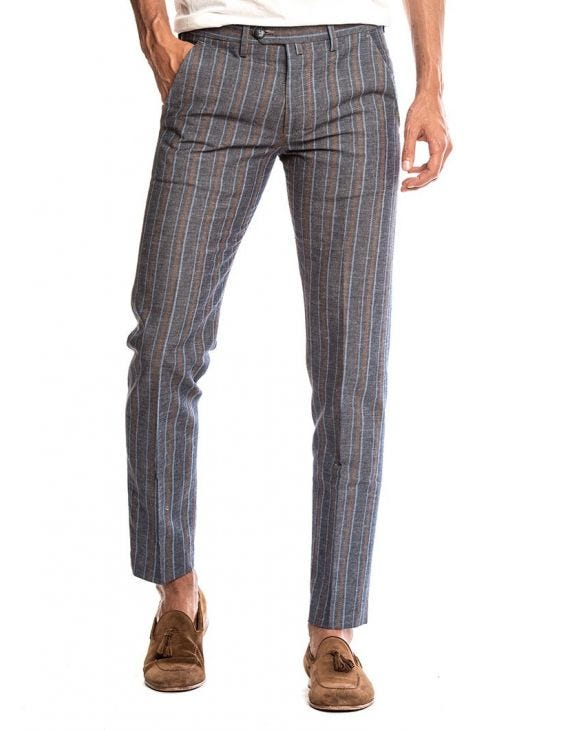 FREDDIE LINEN PANTS IN STRIPED BLUE