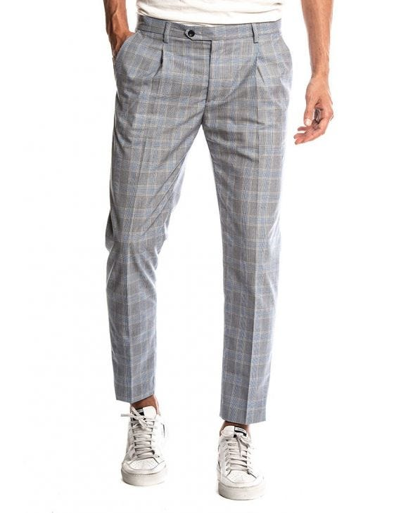 FREDDIE COTTON TROUSERS IN CHECKED GREY