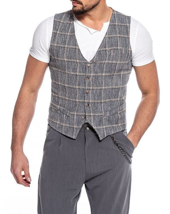 BRYAN CHECKED VEST IN GREY