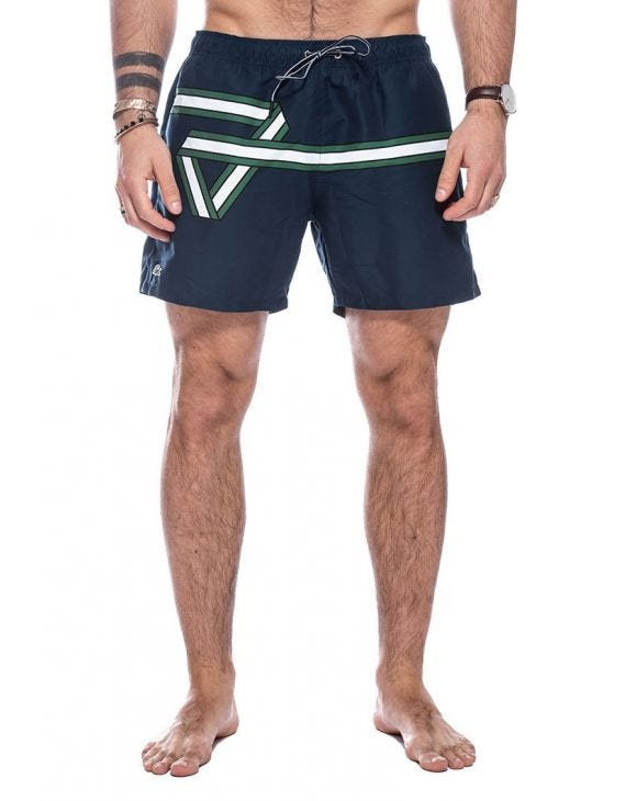 LACOSTE RIBBON SWIM SHORTS IN DARK BLUE