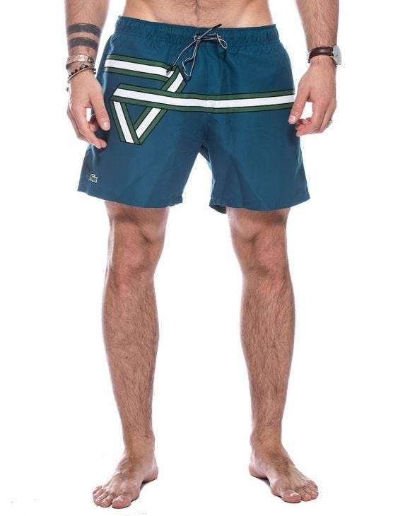 LACOSTE RIBBON SWIM SHORTS IN NAVY BLUE