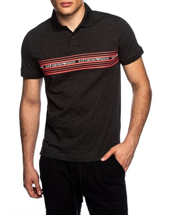 EA7 SHORT SLEEVED POLO IN DARK GREY