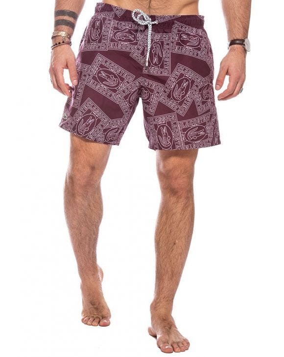 LACOSTE POSTCARD SWIMSHORTS IN BORDEAUX