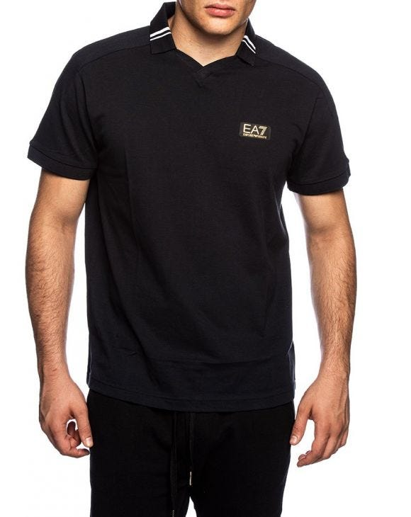 EA7 SHORT SLEEVED POLO IN DARK BLUE