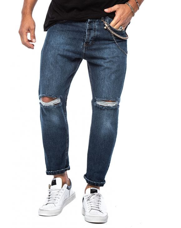 CURTIS STRAIGHT RIPPED JEANS IN BLUE