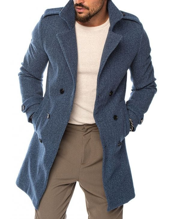 MAITAI DOUBLE BREASTED COAT IN BLUE MELANGE