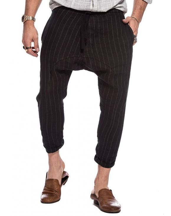 AMMAN LINEN PANTS IN PINSTRIPE BLACK
