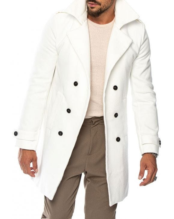 MAITAI DOUBLE BREASTED COAT IN CREAM