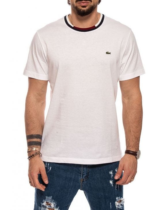 LACOSTE BAND T-SHIRT IN WHITE