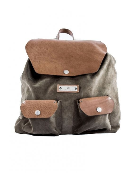 GREEN SUEDE CASUAL BACKPACK