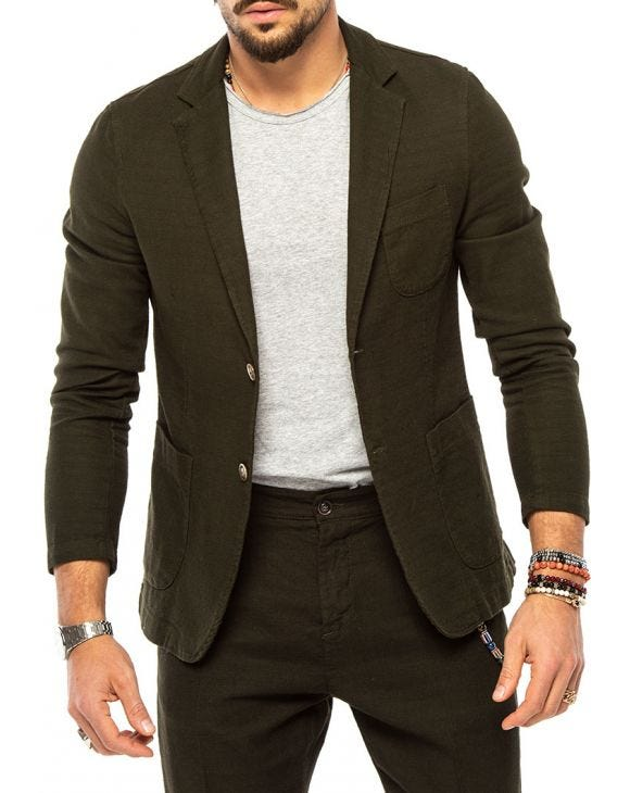 FRANK SINGLE BREASTED BLAZER IN GREEN