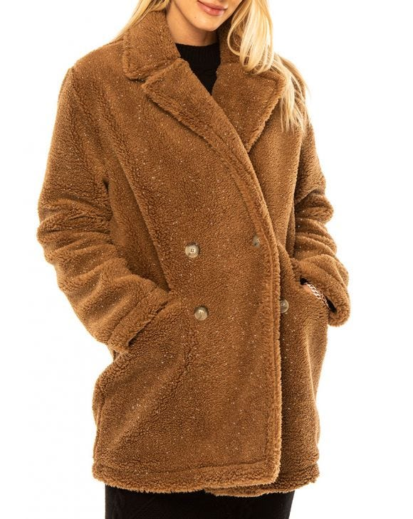 TEDDY LUREX COAT IN CAMEL