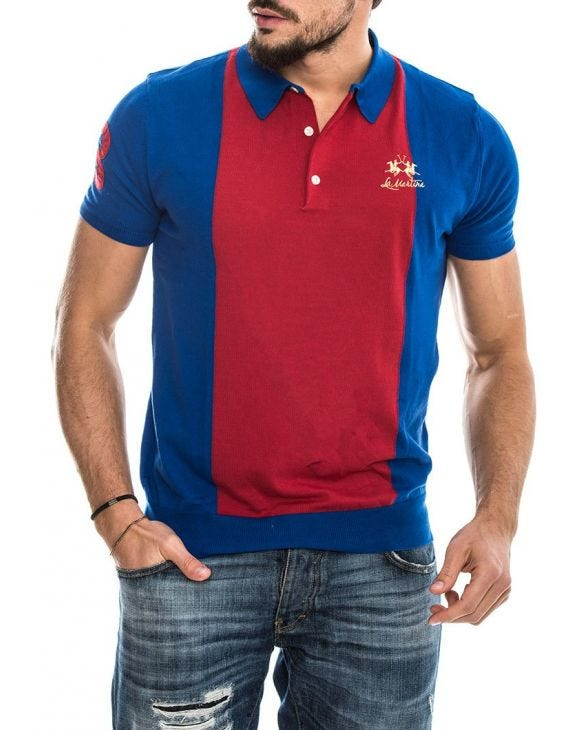 MAN SWATER NAUTICAL POLO AZUL