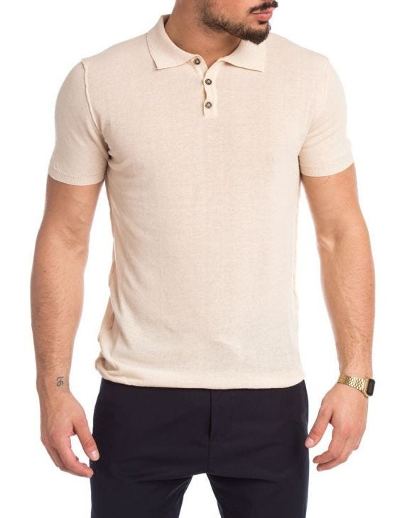 SOLID POLO IN CREME
