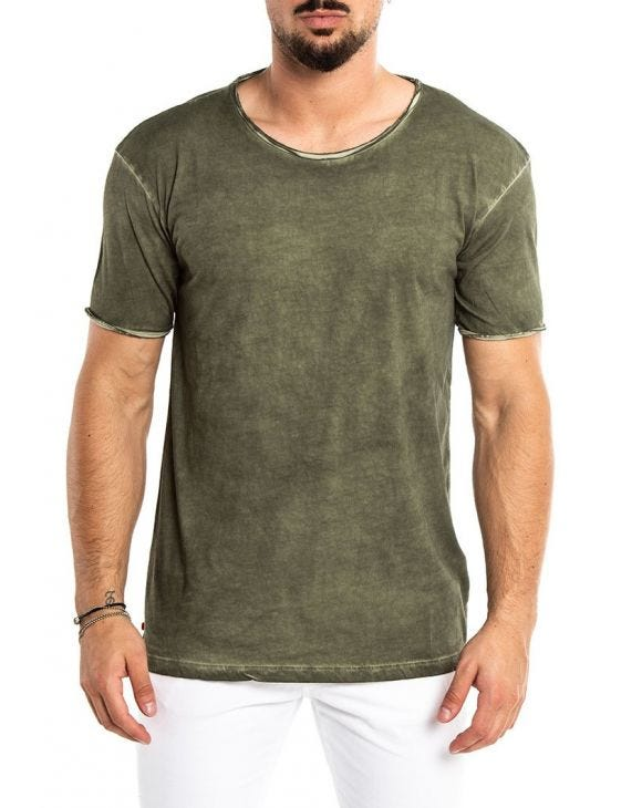 STONE WASHED T-SHIRT IN GREEN