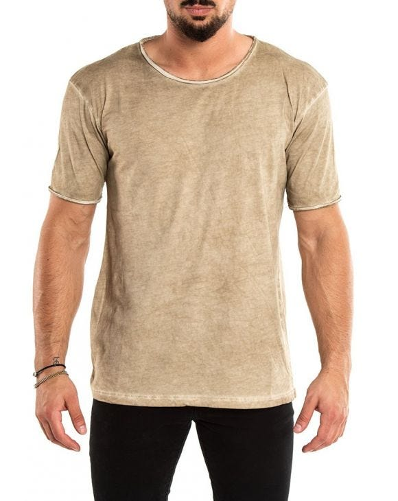 STONE WASHED T-SHIRT IN SAND