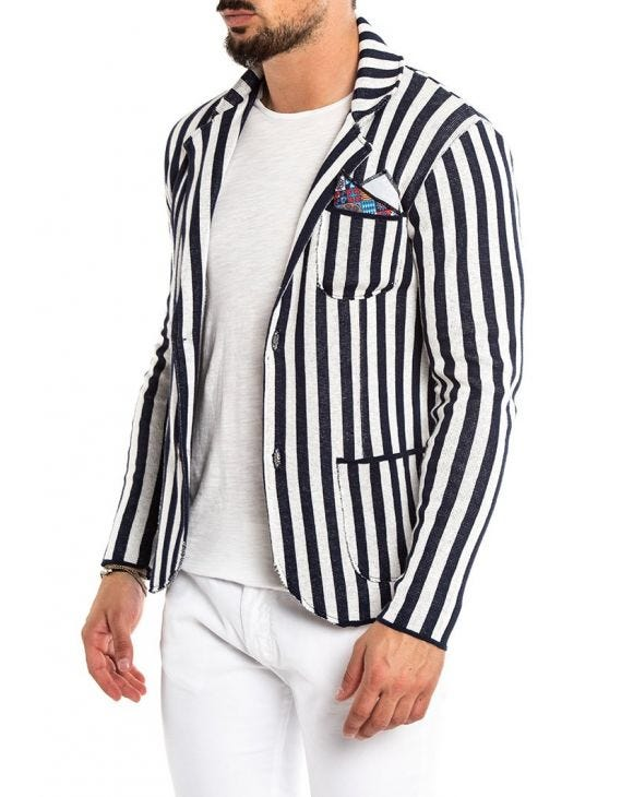 SINGLE BREASTED BLAZER IN BLUE AND WHITE PINSTRIPE