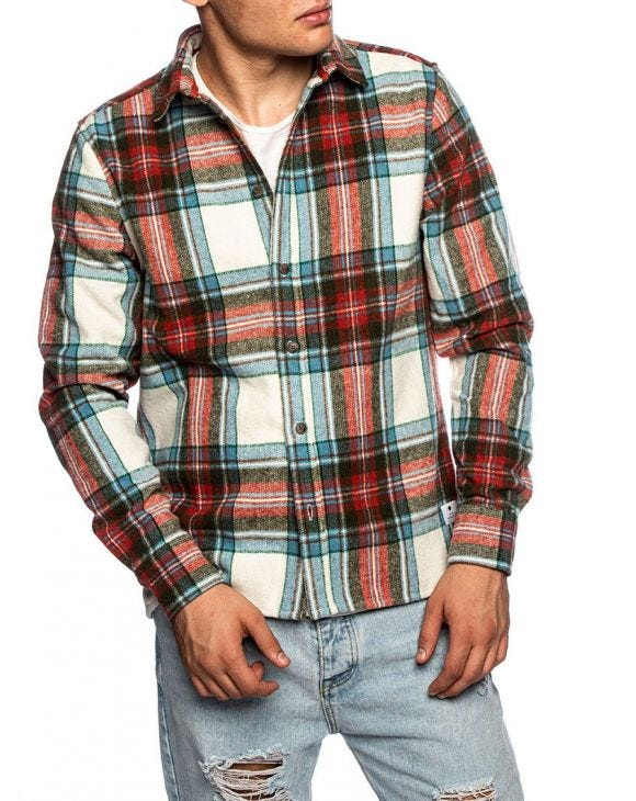 RVLT FLANNEL SHIRT IN CHECKED WHITE