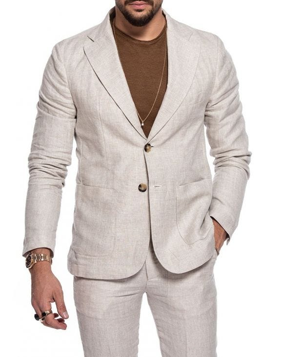 RUBEN SINGLE BREASTED BLAZER IN BEIGE