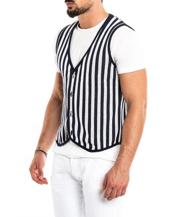 LENI VEST IN BLUE AND WHITE STRIPES