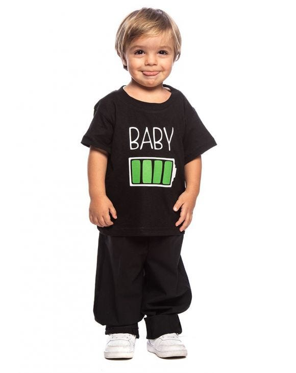 BABY CHARGE KID'S T-SHIRT IN BLACK