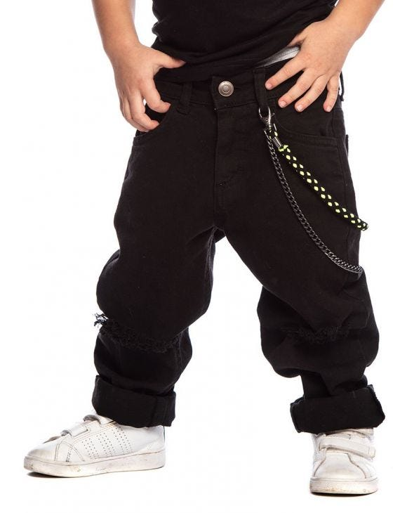 BLACK RIPPED KID'S JEANS