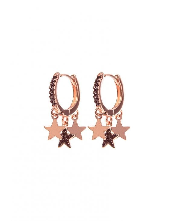 CAREN EARRINGS IN ROSE GOLD WITH STARS PENDANT
