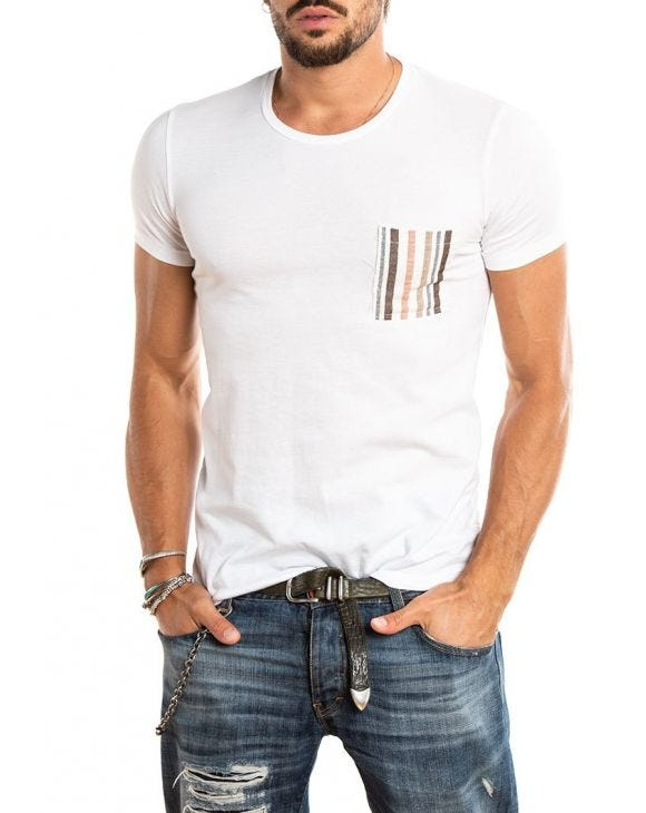 CONRAD STRIPPED POCKET T-SHIRT IN SNOW WHITE