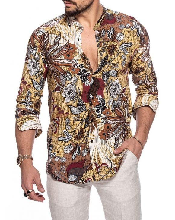 AEDEN PRINTED SHIRT IN BROWN FANTASY