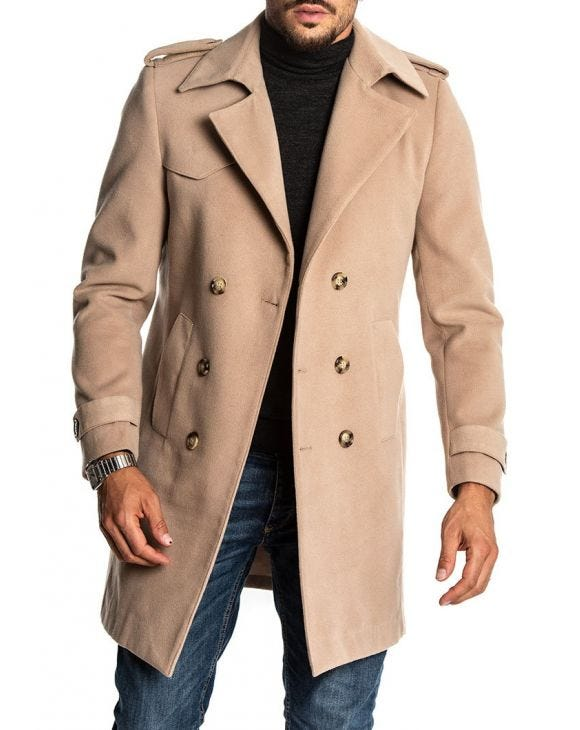 STEWART DOUBLE BREASTED COAT IN BEIGE