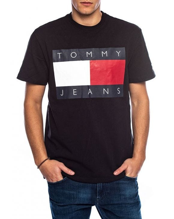 TOMMY FLAG T-SHIRT IN BLACK