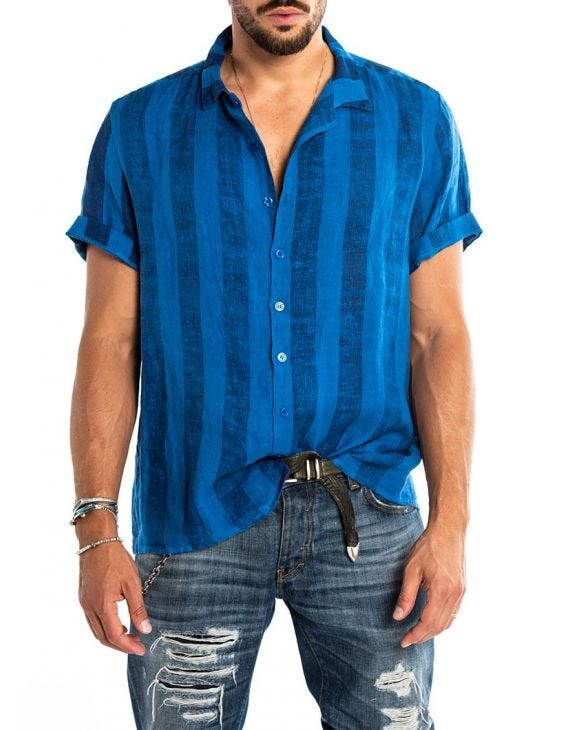 KAI STRIPED SHIRT IN BLUE
