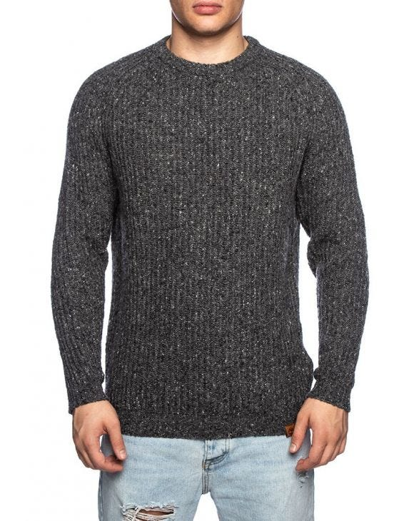 LS LAMBWOOL SWEATER IN DARK GREY