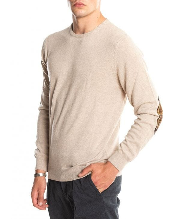GASTONE PATCH SWEATER IN BEIGE