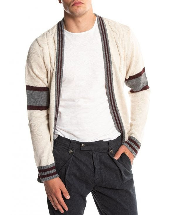 CABLE KNIT CARDIGAN MARFIL