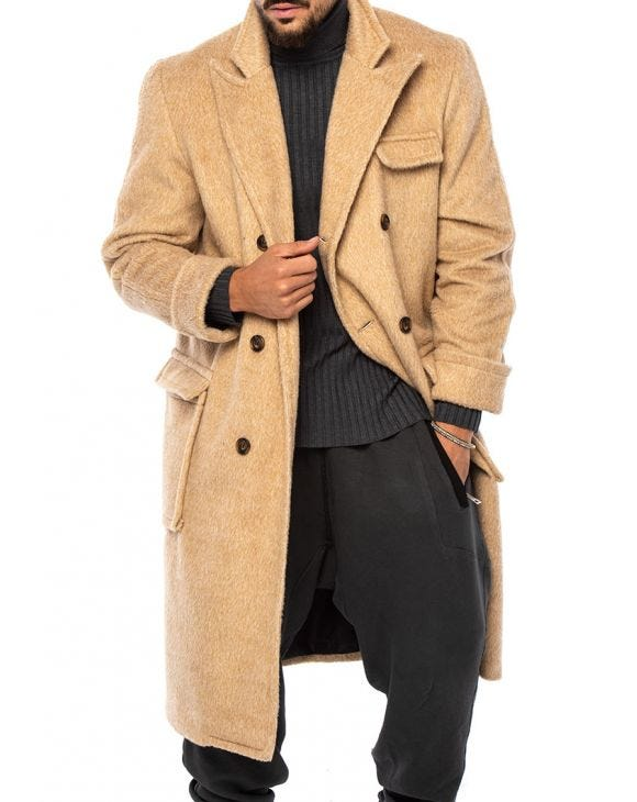 ARCHIE DOUBLE BREASTED COAT IN CAMEL