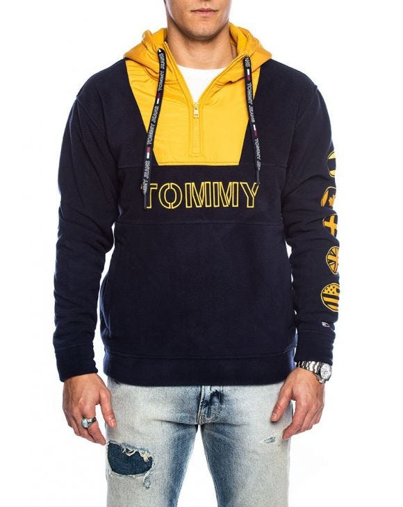 TJM TOMMY LOGO ZIP HOODIE IN BLUE AND YELLOW