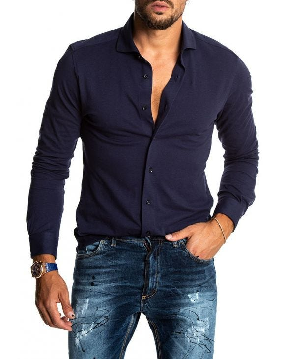 MORSET PIQUET CASUAL SHIRT IN BLUE NAVY