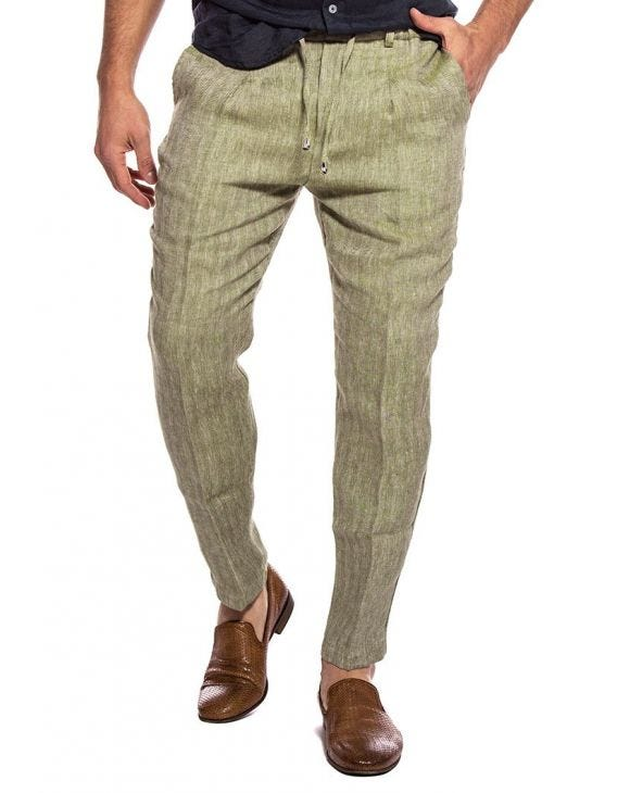KUVERT LINEN FORMAL PANTS IN GREEN