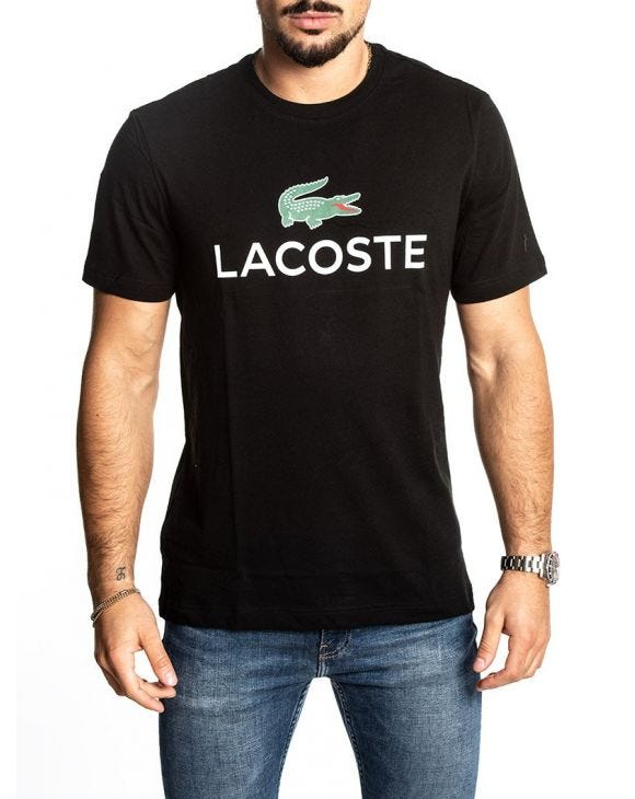 LACOSTE 001 PRINTED T-SHIRT IN SCHWARZ