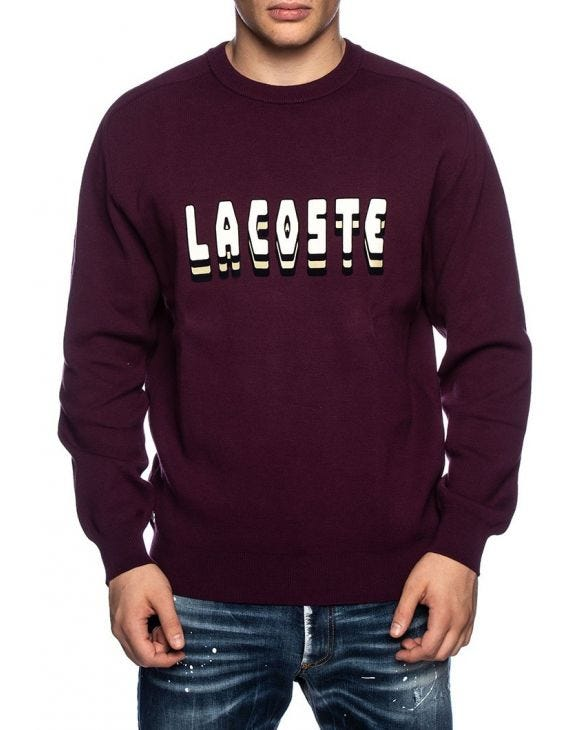 LACOSTE LOGO SWEATSHIRT IN BORDEAUX