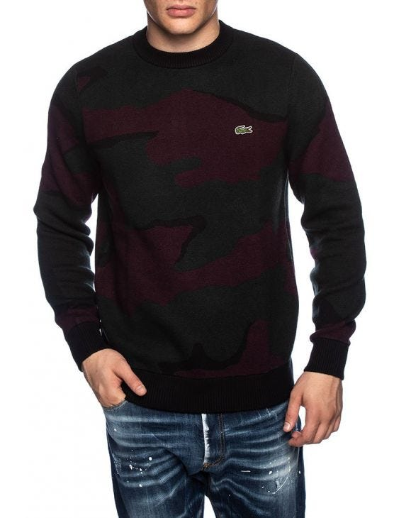 LACOSTE SWEATER IN GRAU UND BORDEAUX