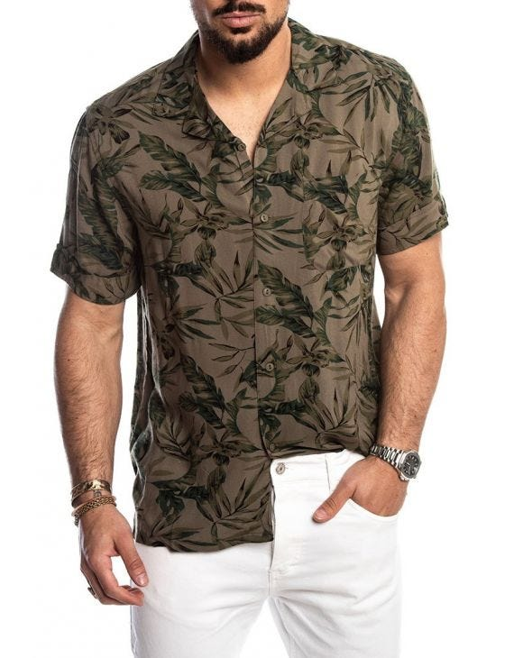 LEO SHIRT IN BEIGE FLOREAL