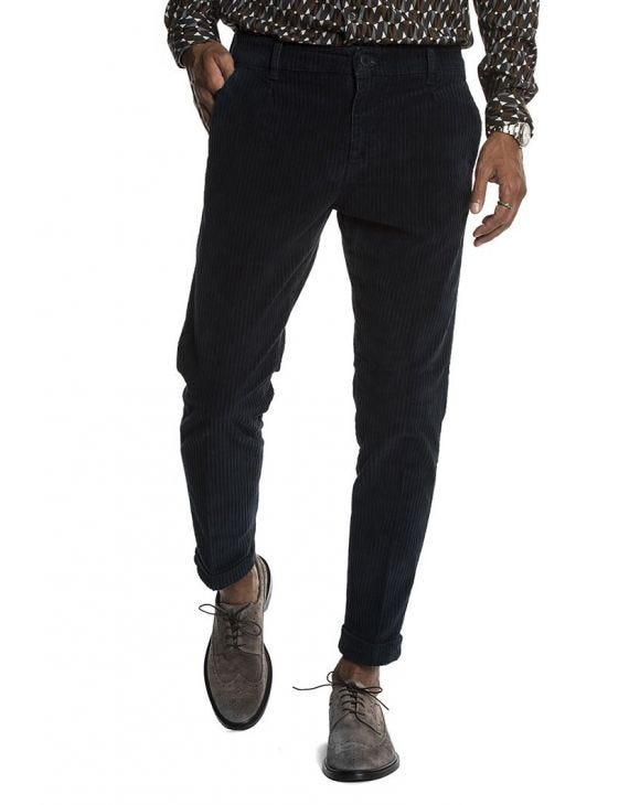 MOOR VELVET CASUAL PANTS IN BLUE