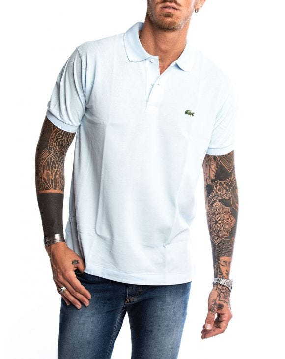 LACOSTE SHORT POLO IN LIGHT BLUE
