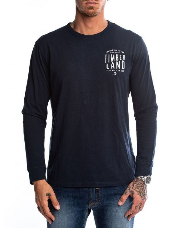 LS BACK GRAPH TEE IN BLUE NAVY
