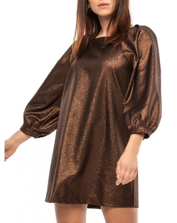 CLEO LUREX DRESS IN BRONZE