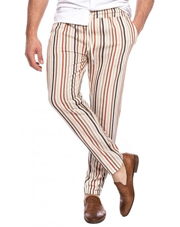PAGOS CASUAL PANTS IN STRIPED MULTICOLOR