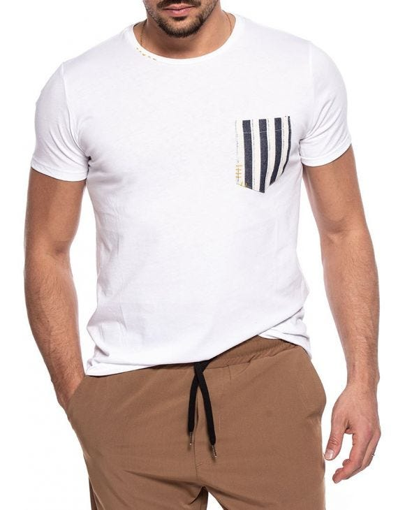 DALLAS T-SHIRT BLANC AVEC POCHE